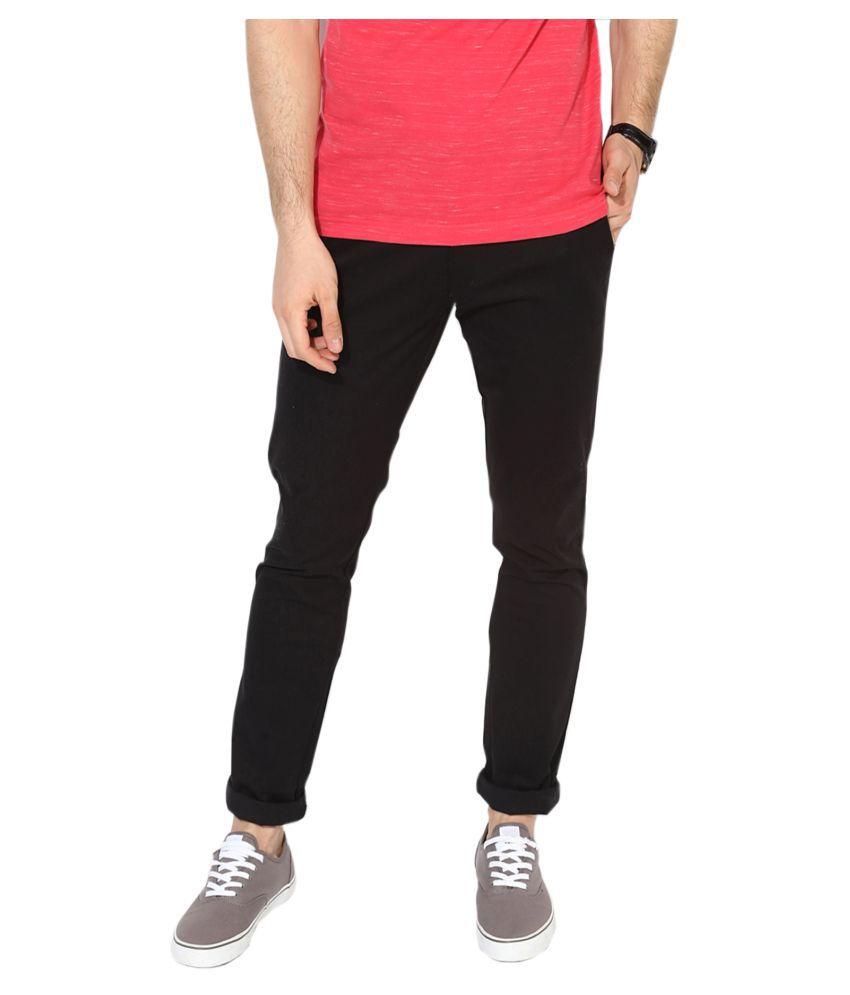 HALOGEN Black Slim -Fit Flat Trousers