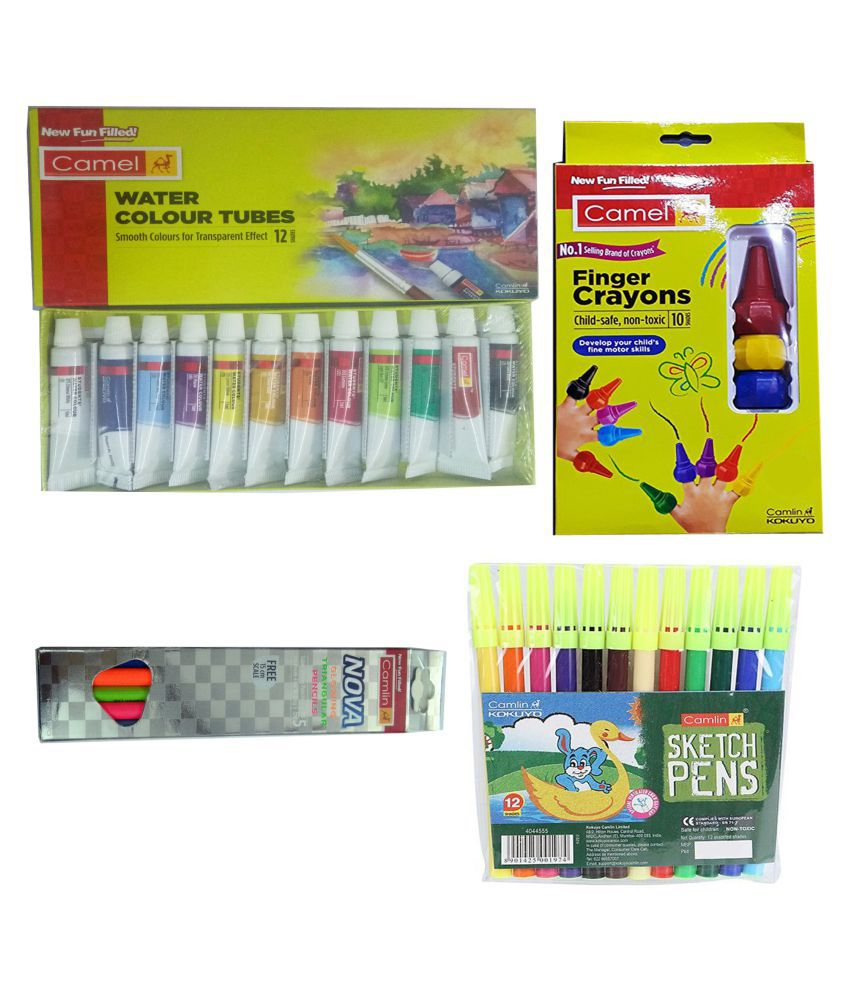 SET CAMLIN WATER COLOUR TUBES (12 SHADES)+CAMLIN FINGER CRAYONS (10 SHADES)+ CAMLIN NOVA GLOWING TRIANGULAR PENCILS WITH SCALE 15 CM+CAMLIN SKETCH PEN (12 SHADES)
