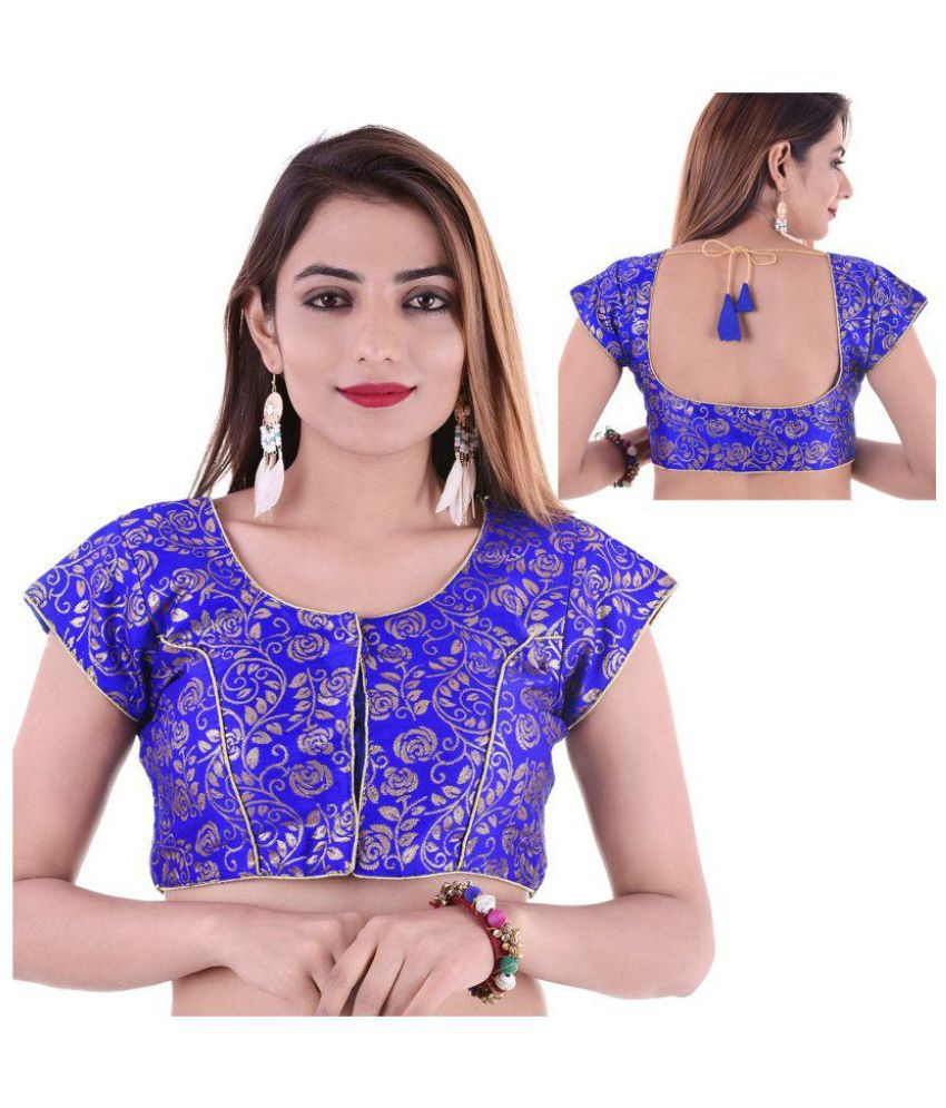 Wow Blue Silk Readymade with Pad Blouse