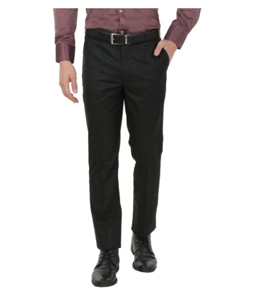 zido Black Slim -Fit Flat Trousers