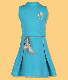 FabTag - Tiny Toon Girls Midi/Knee Length Casual Dress (Light Green, Sleeveless)