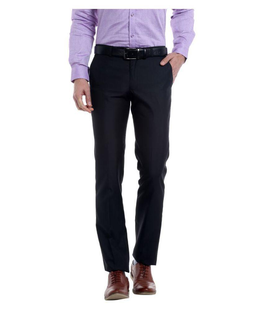 Solemio Black Regular -Fit Flat Trousers