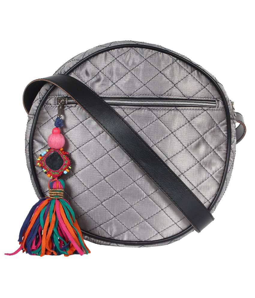 Anekaant Silver Satin Sling Bag