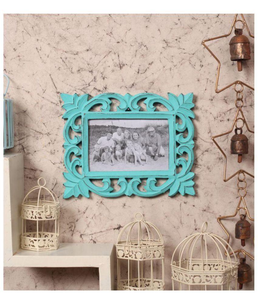 Yatha Wood Blue Single Photo Frame - Pack of 1