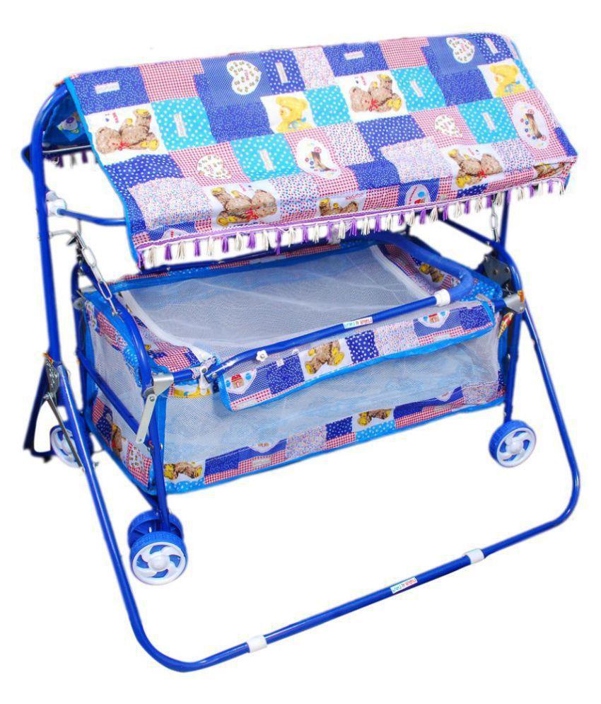 Baby Blue Cradle Cum Cot Cum Stroller Bassinet(Multicolor)