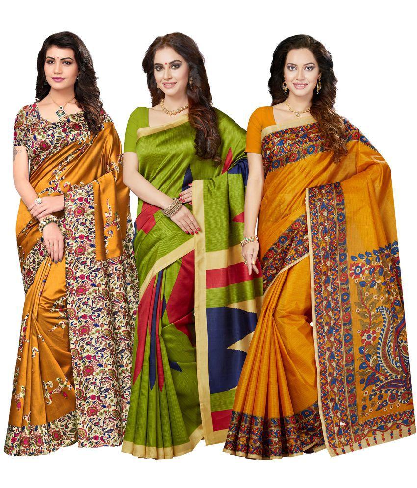 Ishin Multicoloured Bhagalpuri Silk Saree Combos