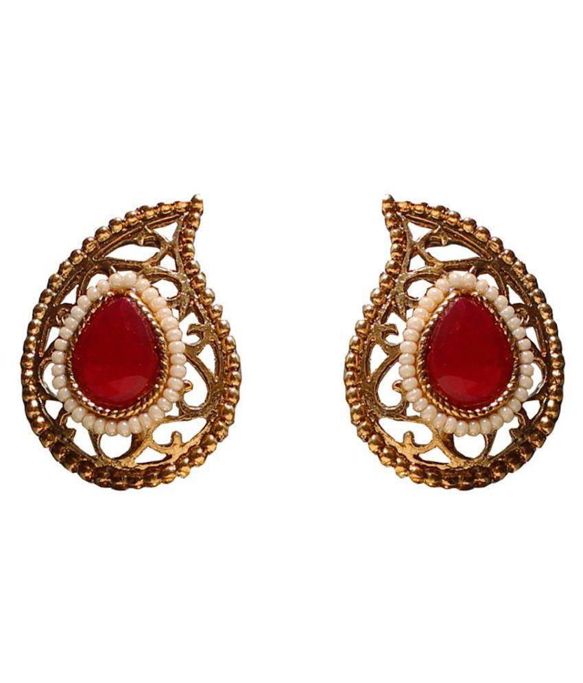 Red Kundan Stone Stud Earring