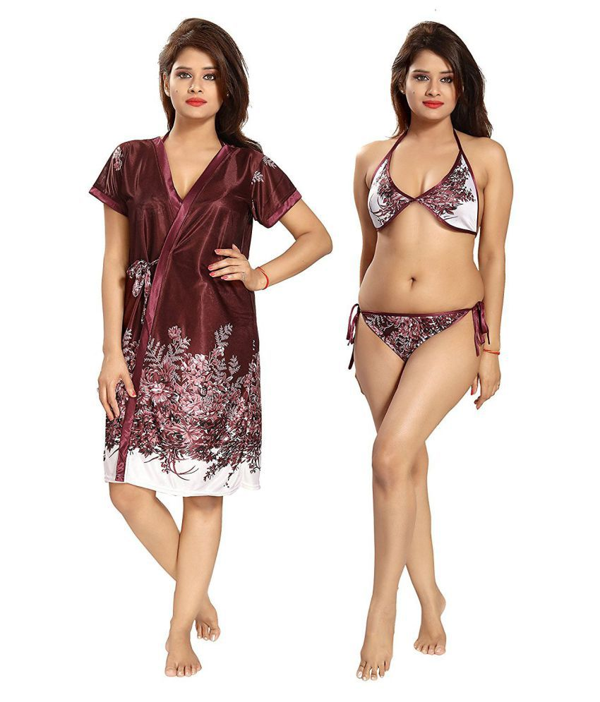 dd8e886436 Buy Be You Satin Night Dress - Brown Online at Best Prices in India -  Snapdeal