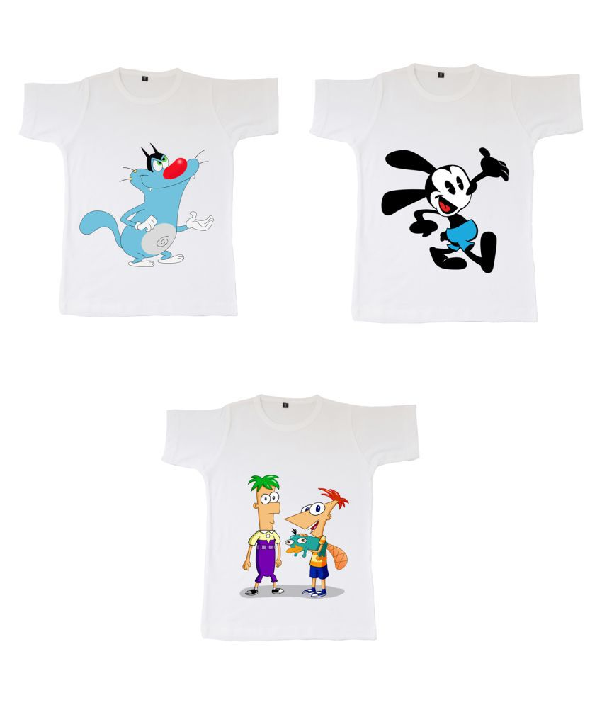 British Terminal White color Cotton Half sleeve Round Neck Printed Unisex Tshirt for Kids / baby / Girls / Boys (combo-Pack of 3)