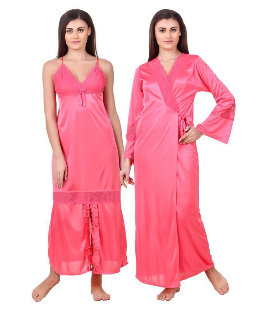 Fasense Satin Nighty & Night Gowns - Pink