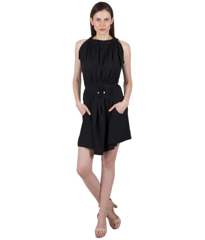 G & M Collections Poly Crepe Black Asymmetric dress