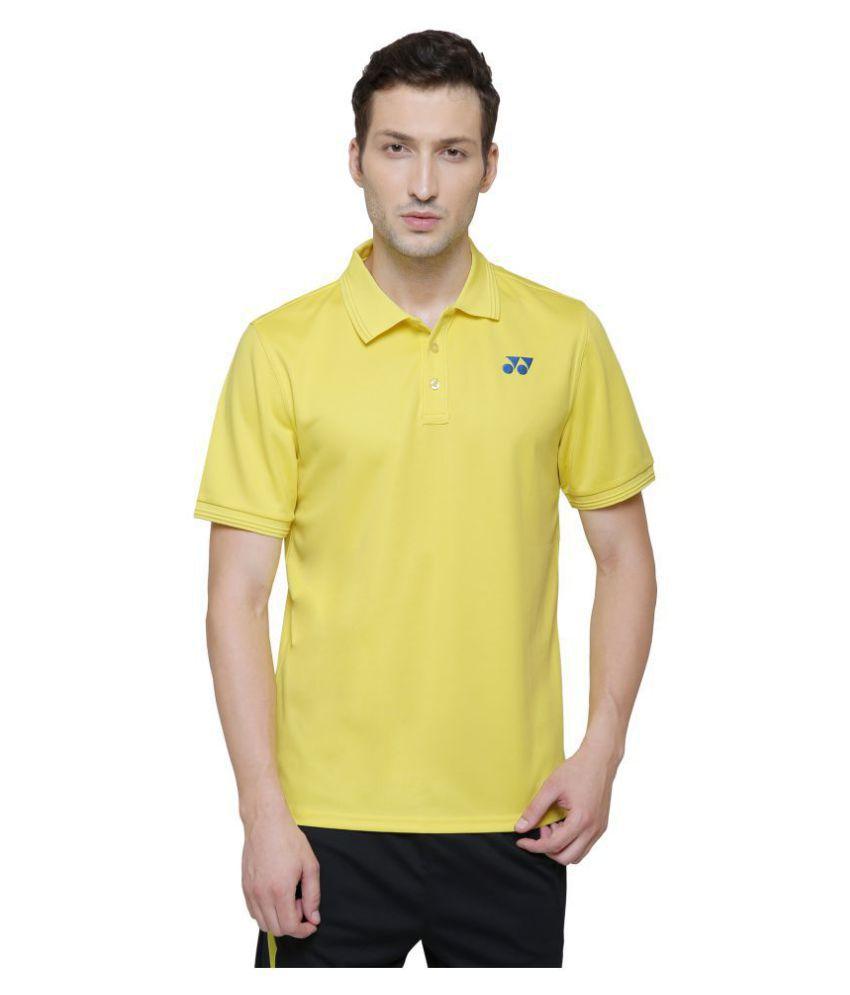 Yonex Yellow Polyester Polo T-Shirt