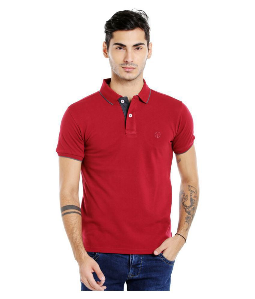 Integriti Red Slim Fit Polo T Shirt