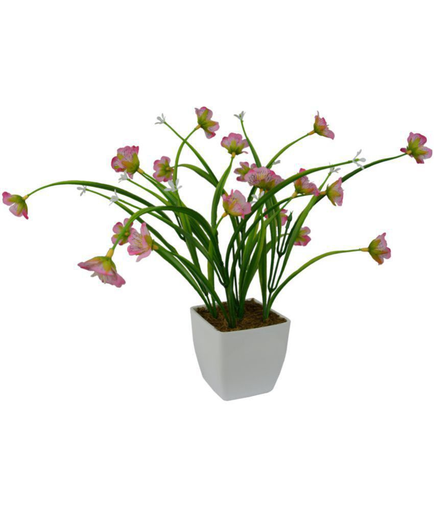 The Fancy Mart Spring Grass Flowers in Square pot Pink Greens With Pot Fabric - Pack of 1
