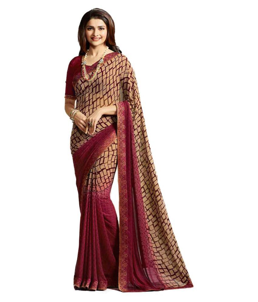 Home Deal maroon Georgette Saree