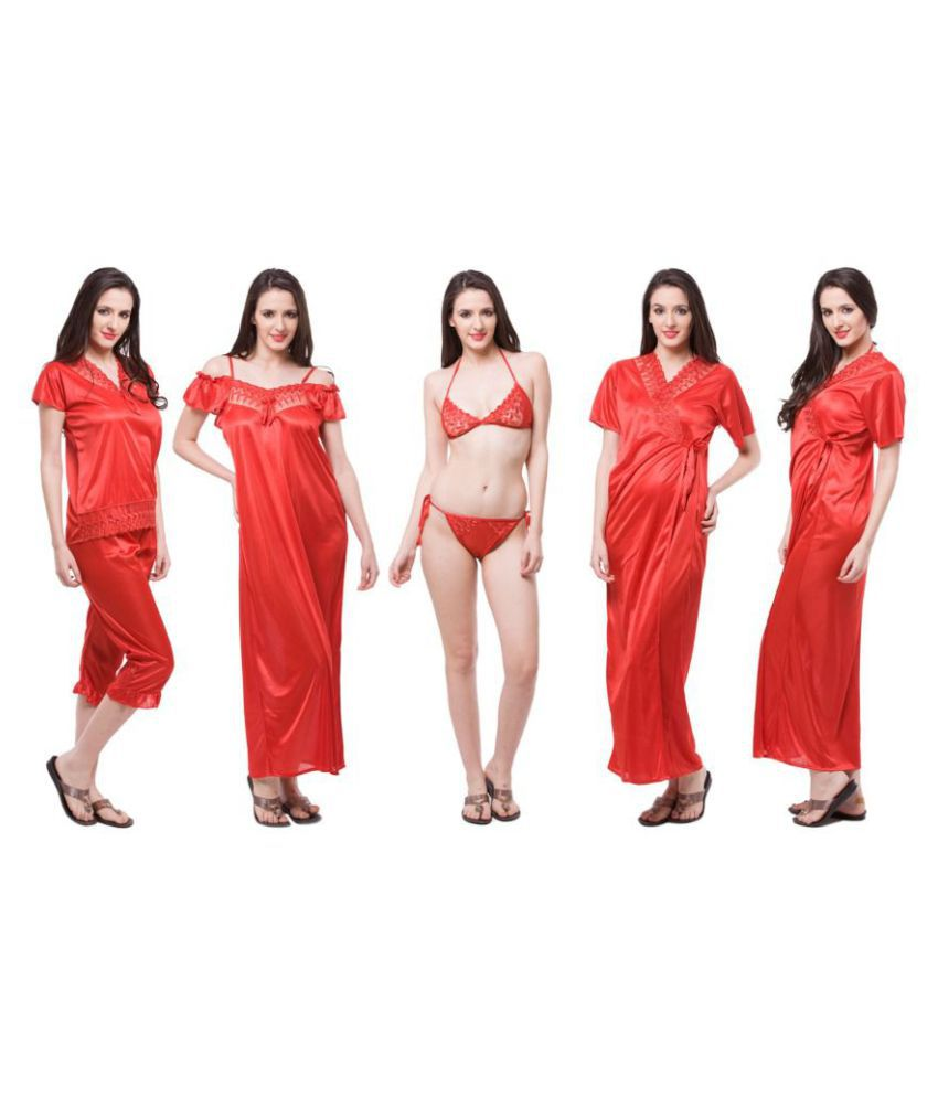 a040069a3788 Buy Fasense Satin Nighty   Night Gowns - Red Online at Best Prices in India  - Snapdeal