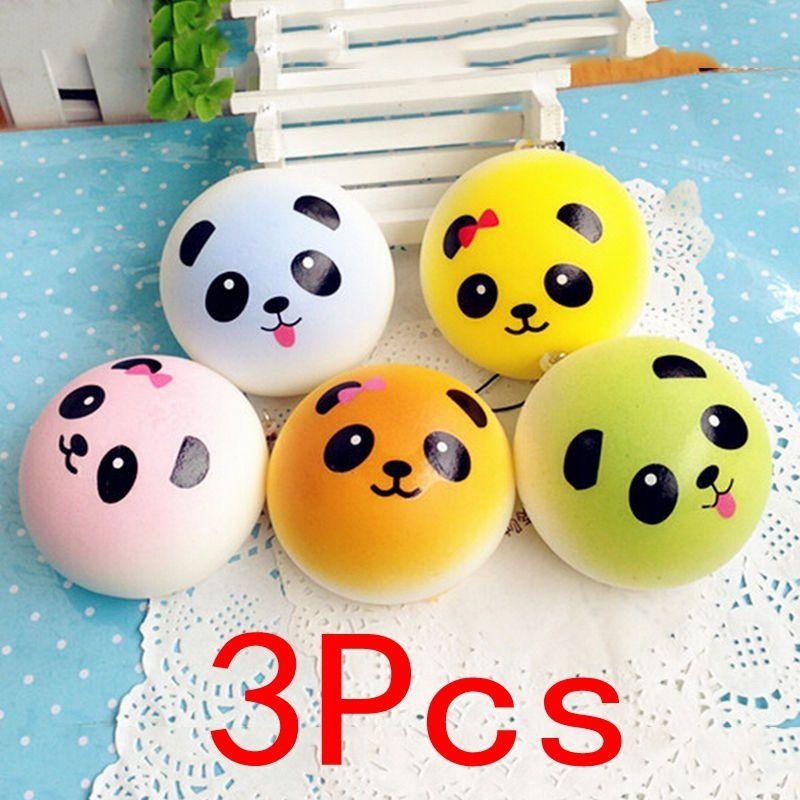 3Pcs Panda Squishy Charms Soft Buns Cell Phone Key Chain Bread Straps