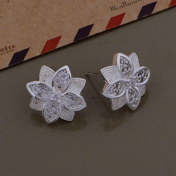 Kamalife Fashion White Flower Bling Bling Diamond 1 Pair Earings Jewellery
