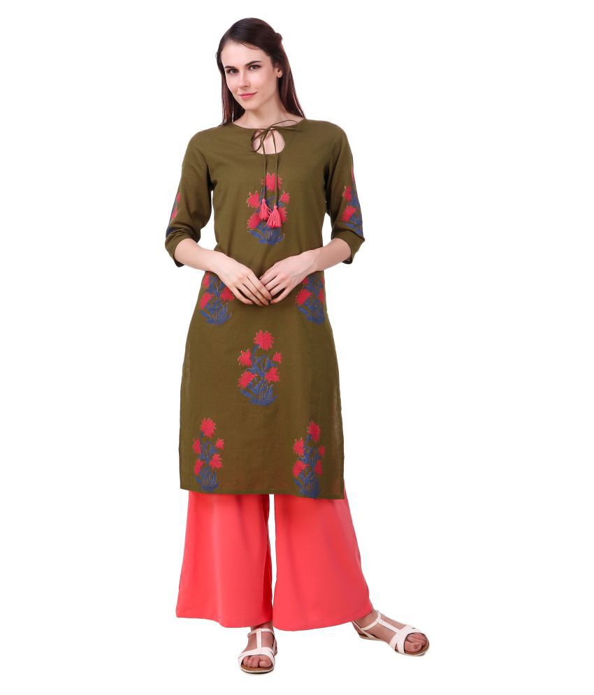 Luxury Living Green Cotton Blend Straight Kurti