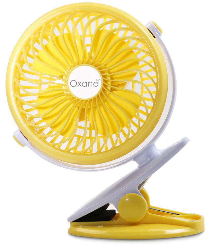 Oxane USB Fan Yellow Pack of Pack of 1 360 degree swivel usb clip fan  portable
