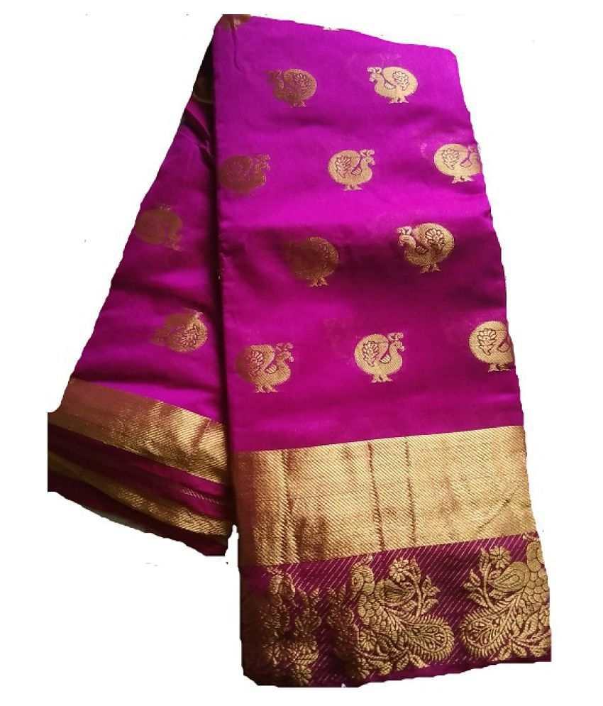 vrcg Brown and Purple Cotton Saree