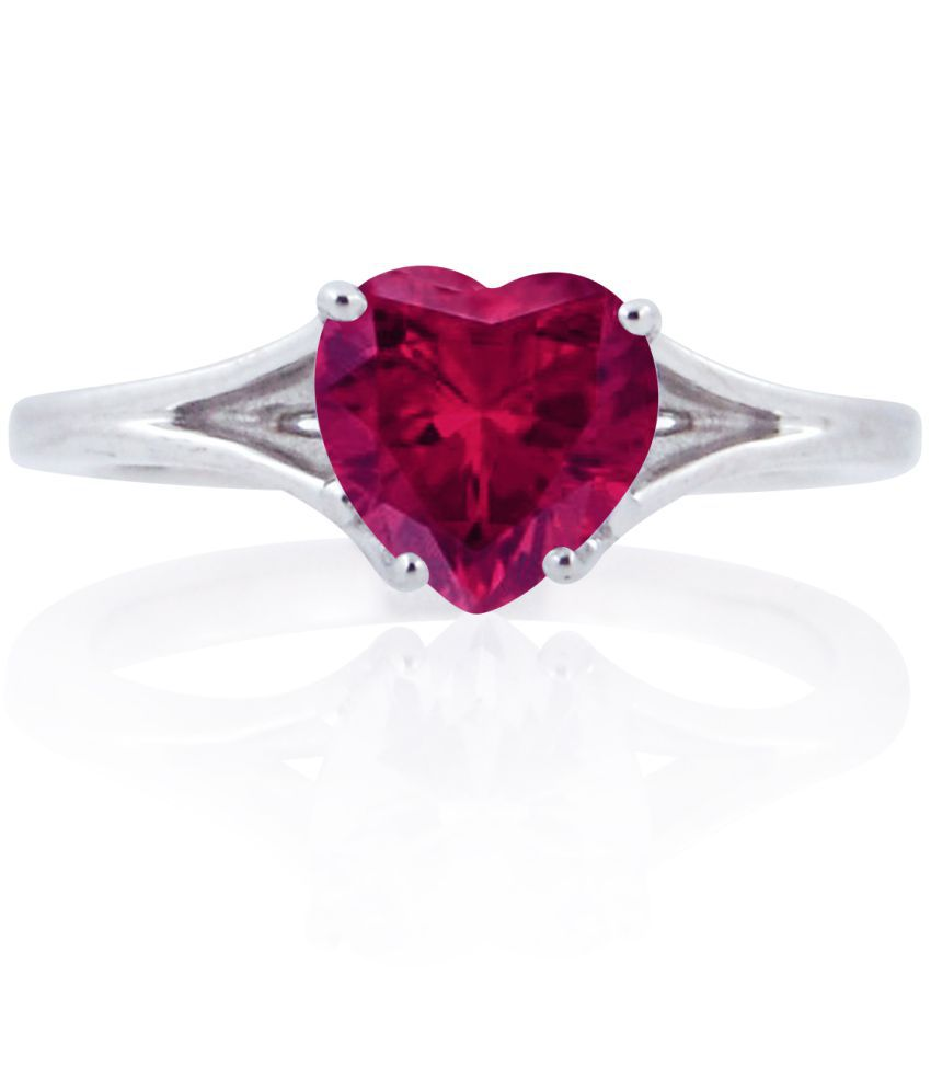 22e2a19c2b Silver Dew 925 Sterling Silver Red Ruby Heart Shaped Brilliant Cut  Solitaire Ring Valentine's Day & Party Wear For Women's And Girls: Buy  Silver Dew 925 ...