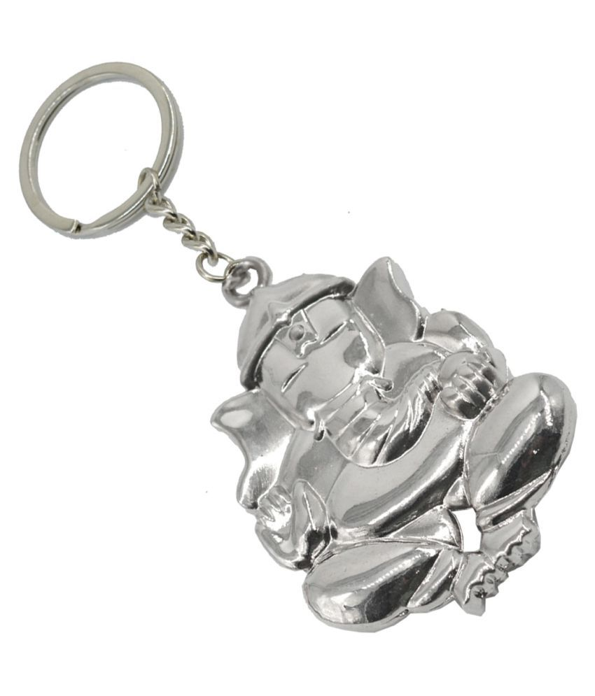Faynci Lord Leaf Ganesh Ganpati Elephant Hindu God Double Sided Copper High Quality Metal Key Chain for Gifting, Good Luck and Protection