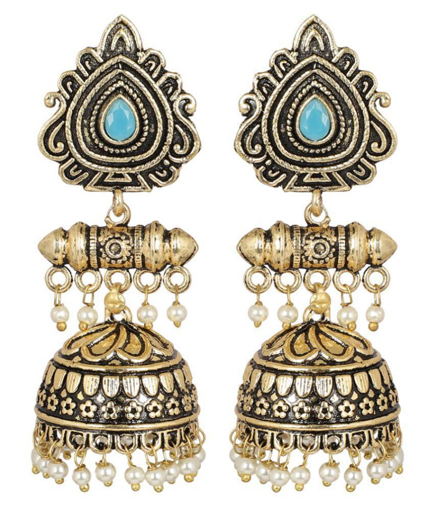 MUCH MORE Golden Tone With Pearl Dropping Jhumki  Fashion Earrings  For Women
