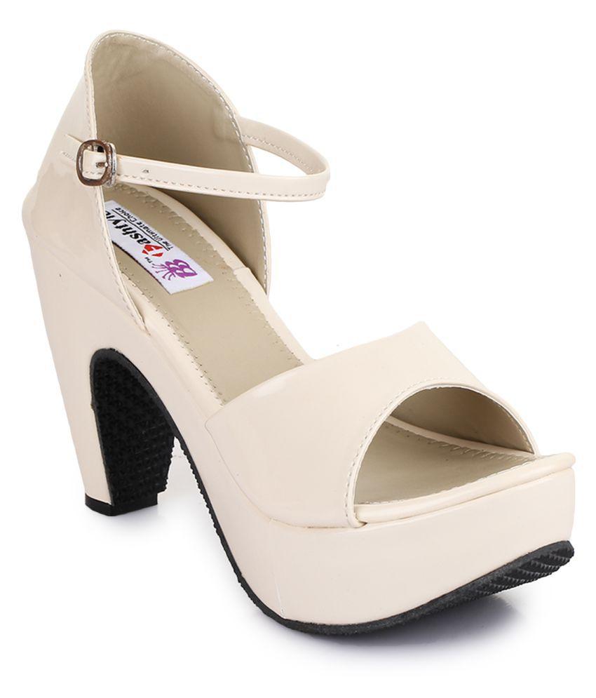 Fashtyle Cream Block Heels