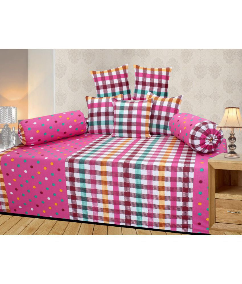 Homefab India Cotton Pink Checks Diwan Set 8 Pcs