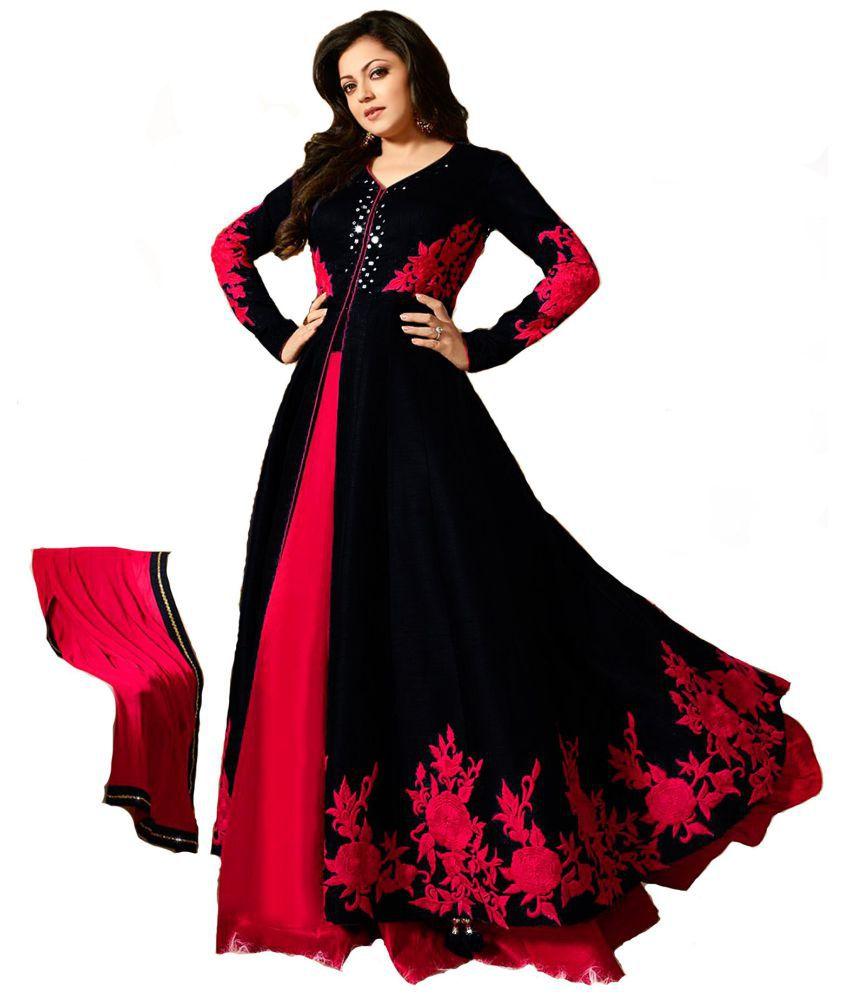 Infotech Black Bangalore Silk Anarkali Gown Stitched Suit