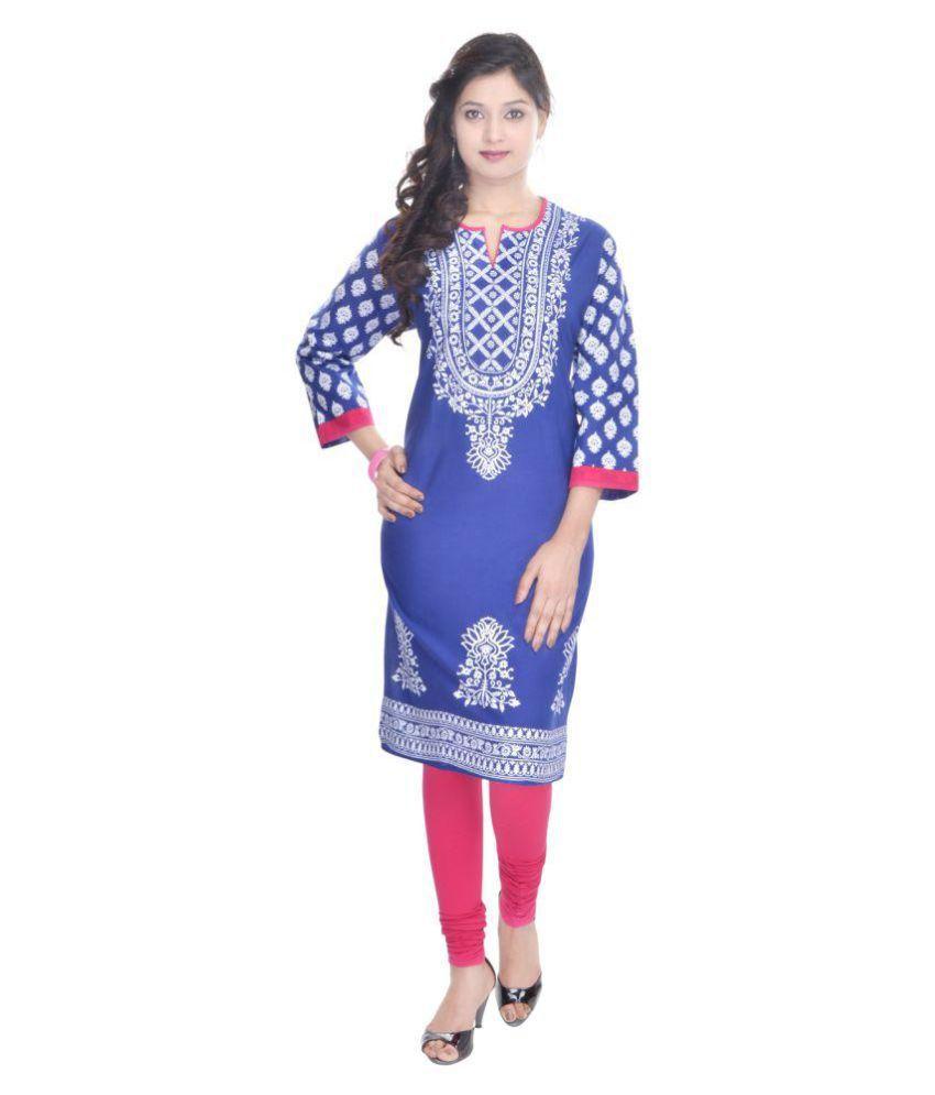 Shopping Rajasthan Blue Cotton Straight Kurti