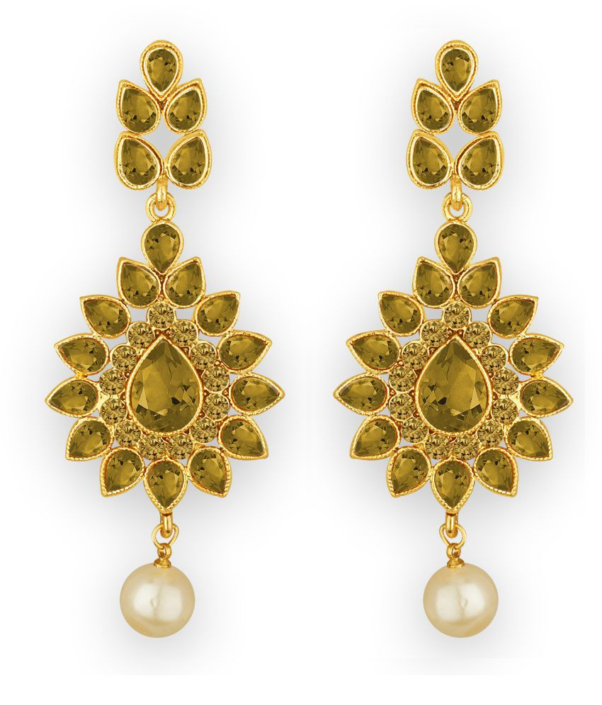 Spargz Traditional Floral Gold Plated Synthetic Stone Dangle Earring For Women aier_1466