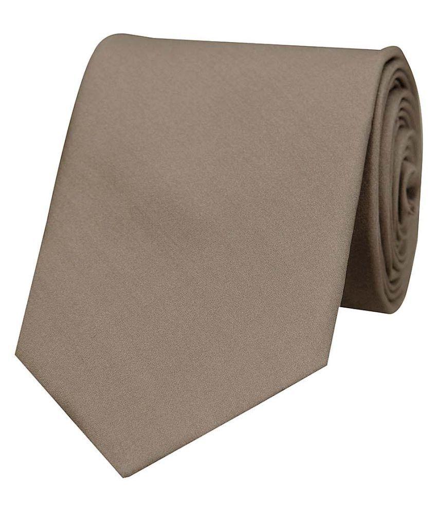 Tiekart Brown Plain Silk Necktie