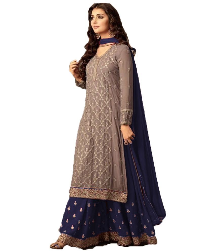 e4d39ee7d ... Pakistani Semi-Stitched Suit - Buy Vinay Fashion LLP Beige and Black  Georgette Pakistani Semi-Stitched Suit Online at Best Prices in India on  Snapdeal
