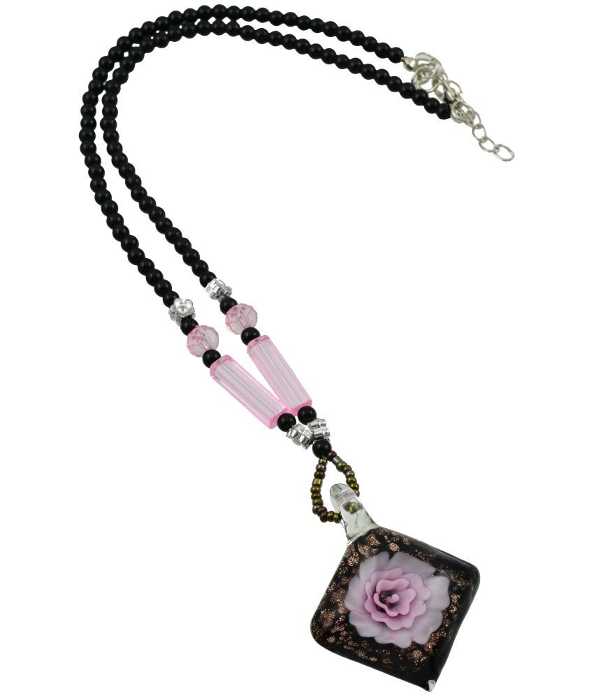 High Trendz Designer 3D Glass Pendant With Black Beads Long Fussion Chain/Necklace For Women And Girls