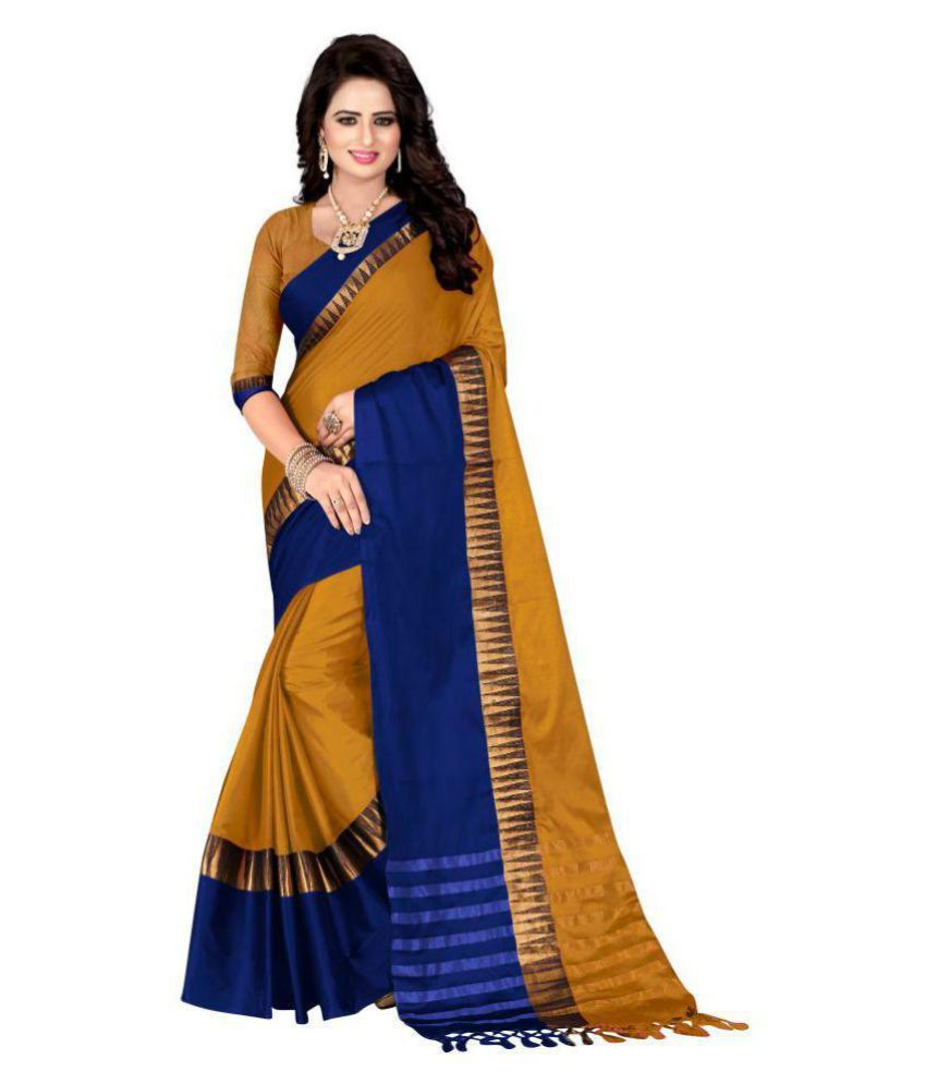 6ab96234e Hinayat Fashion Yellow and Blue Cotton Silk Saree - Buy Hinayat Fashion  Yellow and Blue Cotton Silk Saree Online at Low Price - Snapdeal.com