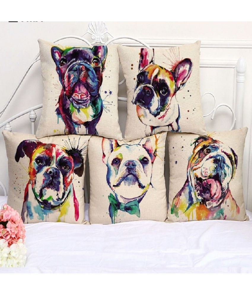 Home Decoration Set of 5 Jute Cushion Covers 40X40 cm (16X16)