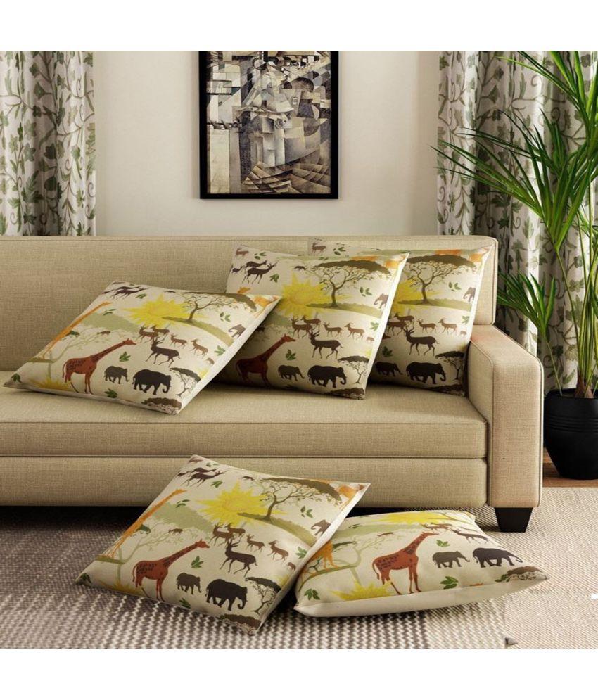 Home Decoration Set of 5 Jute Cushion Covers 40X40 cm (16X16)