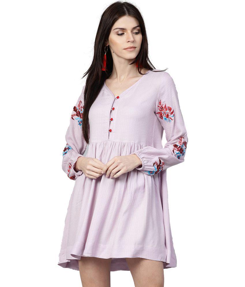 Jaipur Kurti Cotton Purple A- line Dress