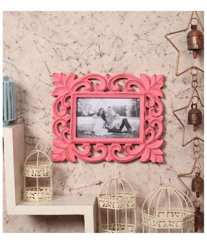 Yatha Wood Pink Single Photo Frame - Pack of 1