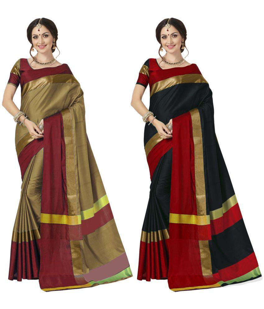 Indira Multicoloured Cotton Blend Saree Combos