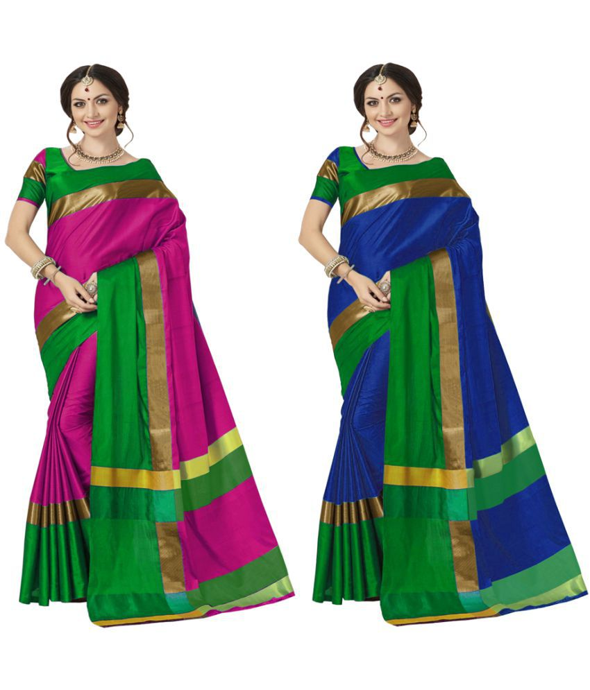 Indira Multicoloured Cotton Blend Saree Combos
