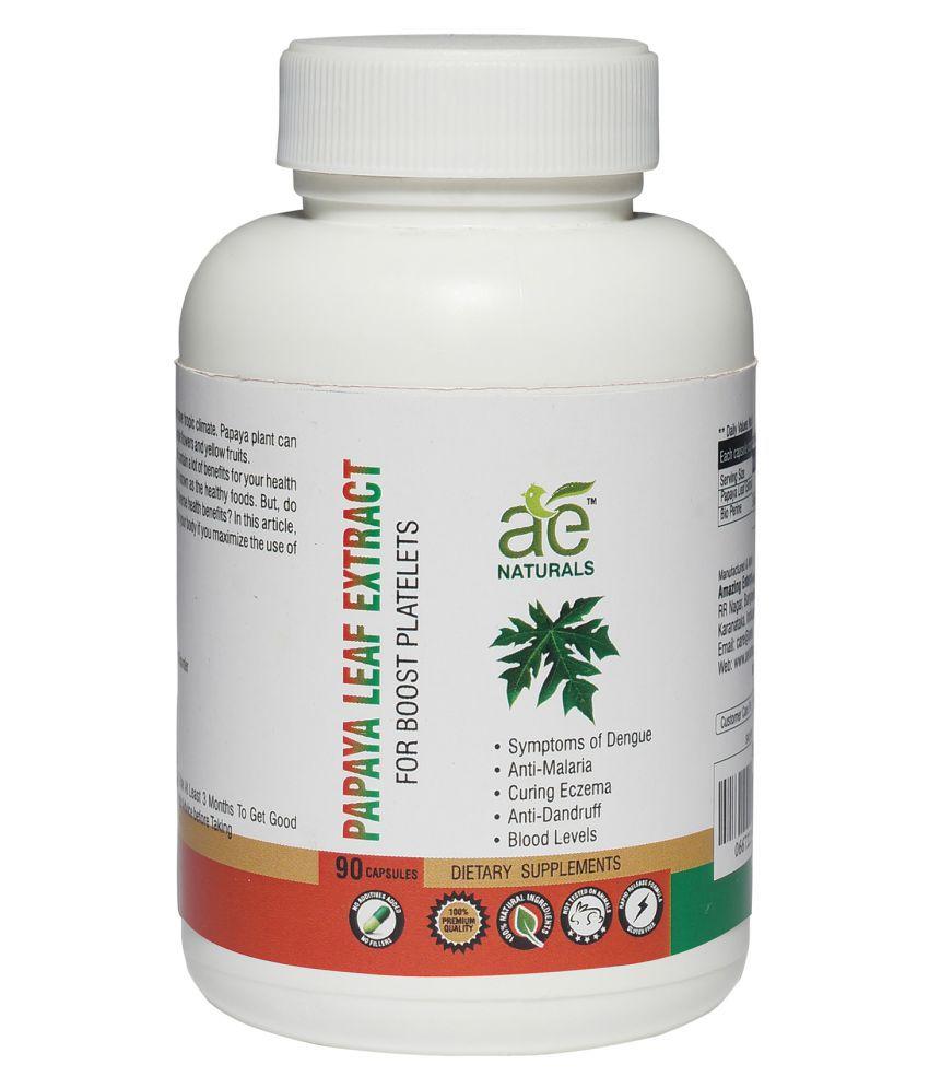 AE Naturals Pure Papaya Leaf Extract  90 Capsules 1 no.s