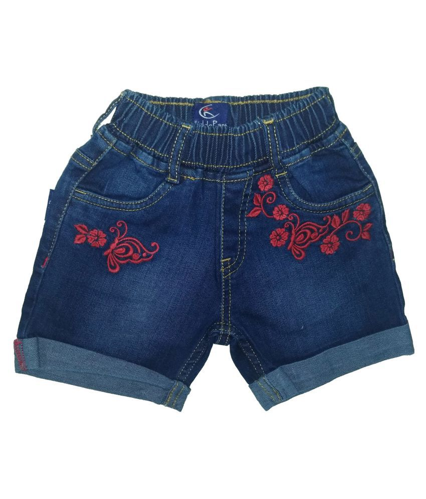 Girls Denim Short With Embroidery
