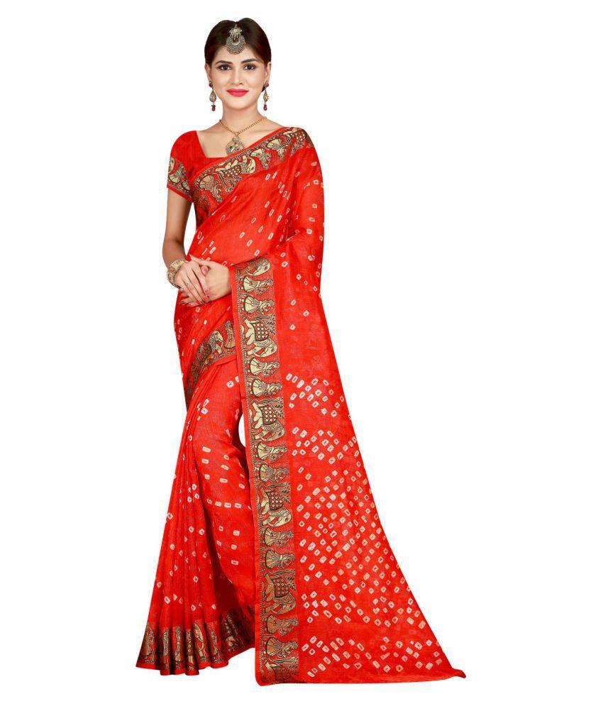 JIVA Red Art Silk Saree