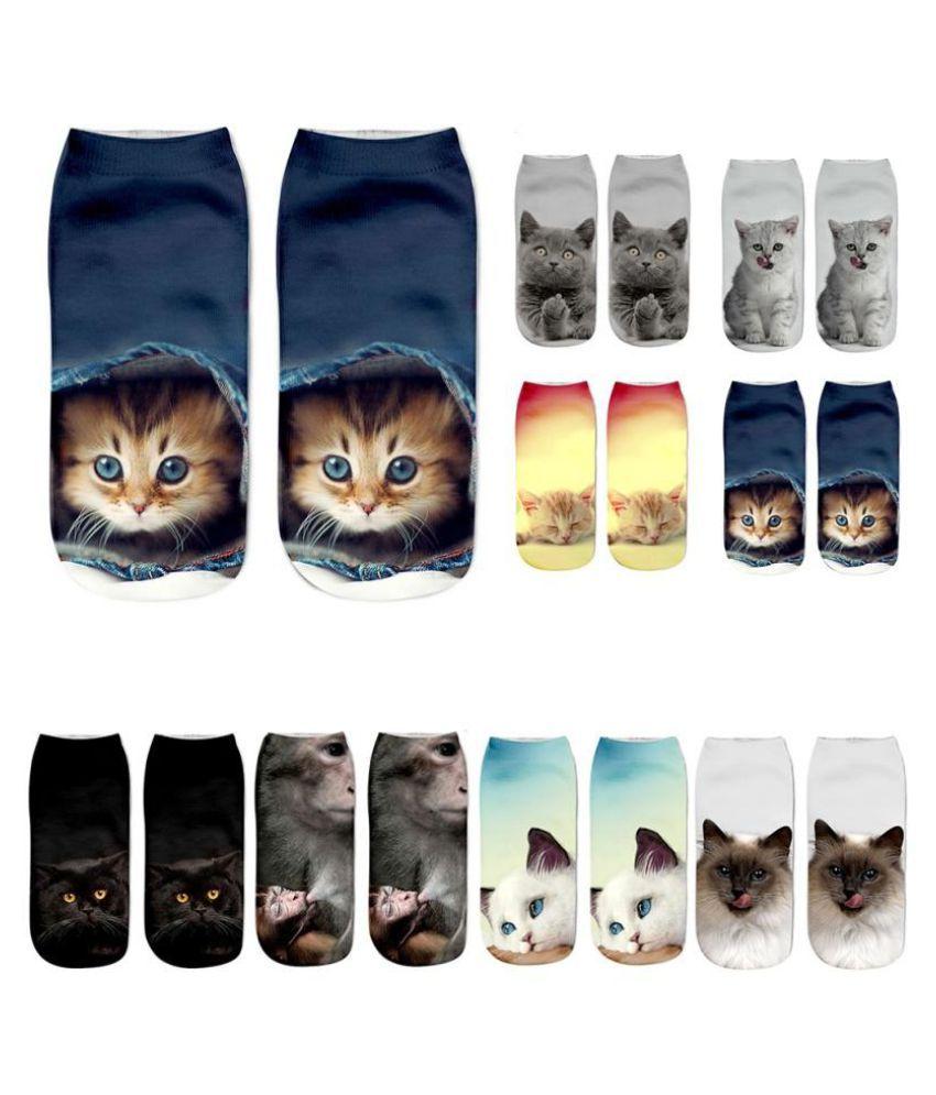 8 Types Popular Funny Girls Casual Socks 3D Cat Printed Anklet Socks Short Socks
