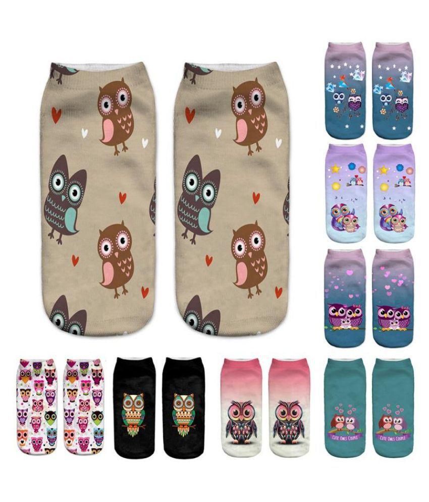 Printed Little Owl Neutral Socks