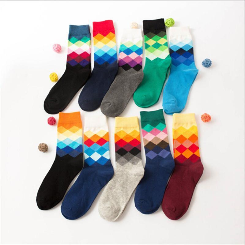Fashion Mens Cotton Happy Socks Warm Colorful Diamond Casual Dress Socks