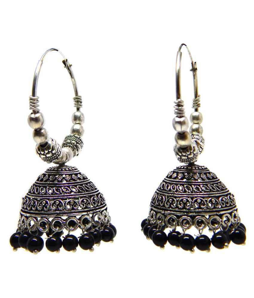Fig N Honey German Silver New Design Chandbali with black Bead Jhumki for Women and Girls